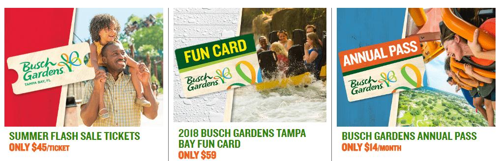 Busch Garden Admission Tickets (Tampa Bay, FL) 1-Park Pass for $45.00