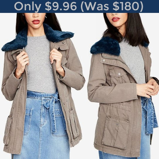 **SOLD OUT** Rachel Roy Faux-Fur-Collar Utility Jacket ONLY $9.96