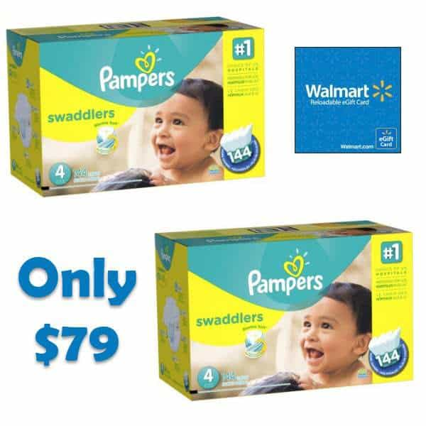 2 Pack Pampers Swaddlers Diapers with Bonus $20 eGift Card Bundle Only $79.98 - $10.13 Per Diaper