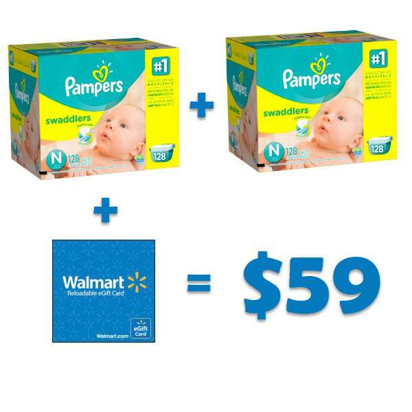 2 Pack Pampers Swaddlers Diapers with Bonus $20 eGift Card Bundle Only $59.98