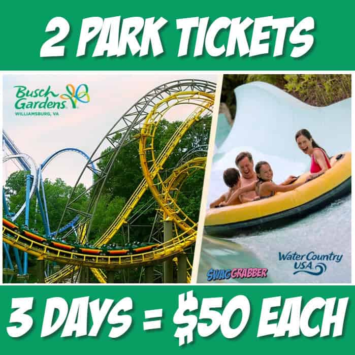 58% off Busch Gardens Williamsburg & Water Country USA Ticket - Only $50 **HOT**