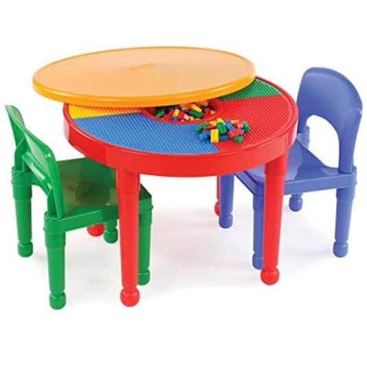 Tot Tutors Kids 2-in-1 Plastic LEGO-Compatible Activity Table and 2 Chairs Set Only $40.49 (Was $77.00)