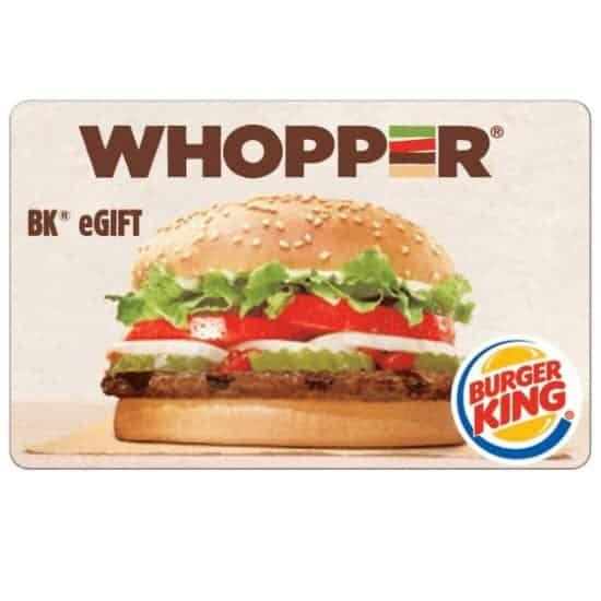 $10 Burger King Gift Card Only $5