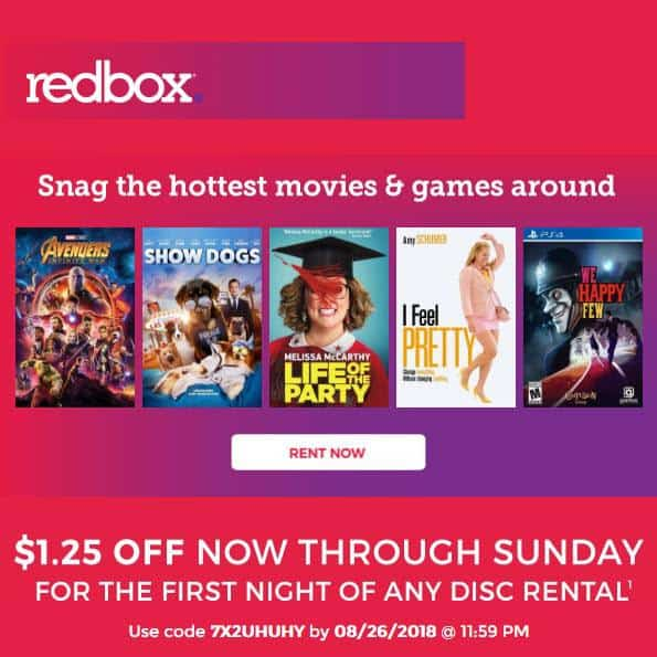 Save $1.25 off Any Redbox Rental!