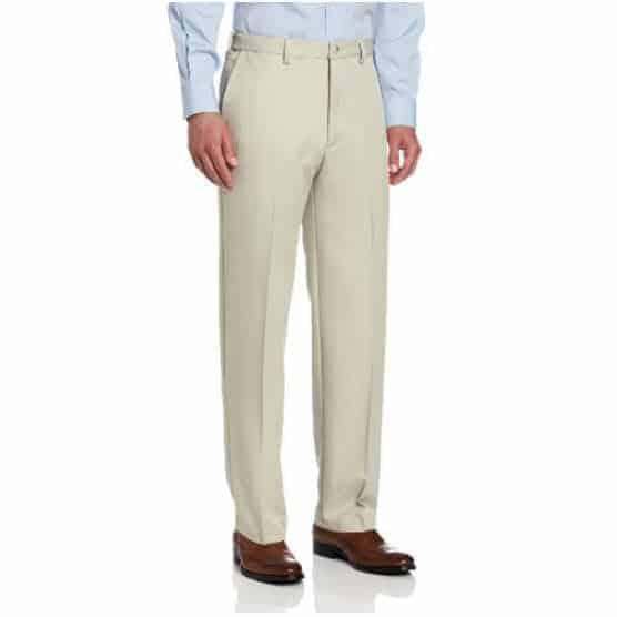 Haggar Men's Cool 18 Hidden Comfort Waist Plain Front Pant Only $13.25 (Was $38.00)