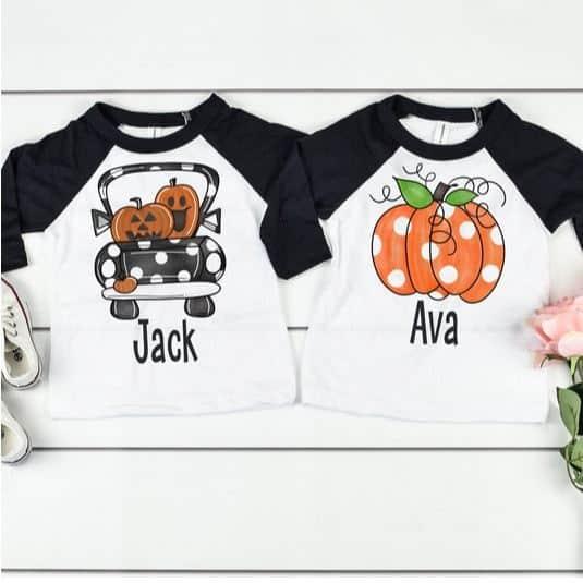 Personalized Kids Halloween Raglan Shirts Only $14.99