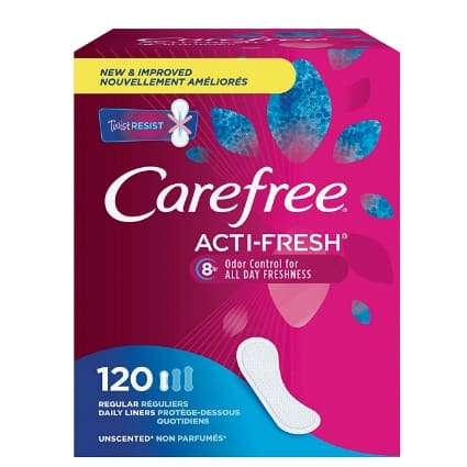 Carefree Acti-Fresh Panty Liners 120-Count Now .56