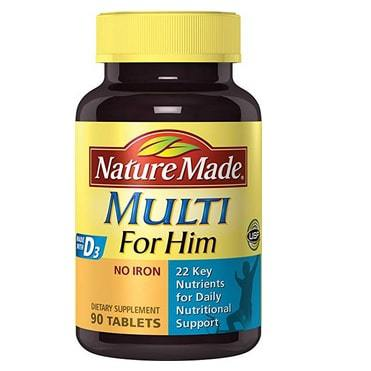 Nature Made Multi for Him Tablets with D3-22 Essential Vitamins & Minerals 90 Ct Only $2.45