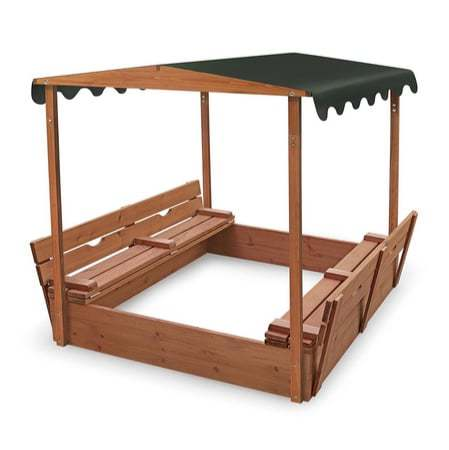 Badger Basket Covered Convertible Cedar Sandbox with Canopy and Bench Seats $132.29 (Was $228.99)