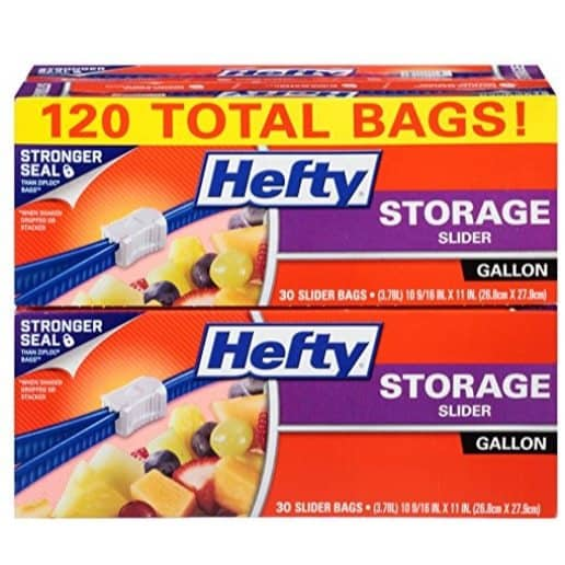 Hefty Slider Plastic Food Storage Bags, Gallon, 120 Count Only $6.96