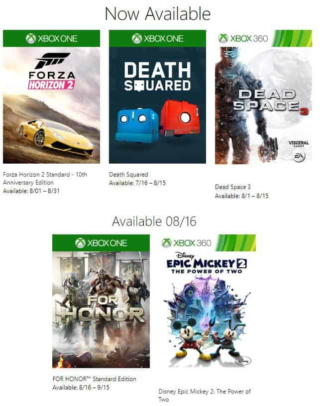 FREE Xbox Games Available for August