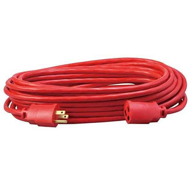 Coleman Cable Vinyl Outdoor Extension Cord, 50-Foot, Red Only $15.17