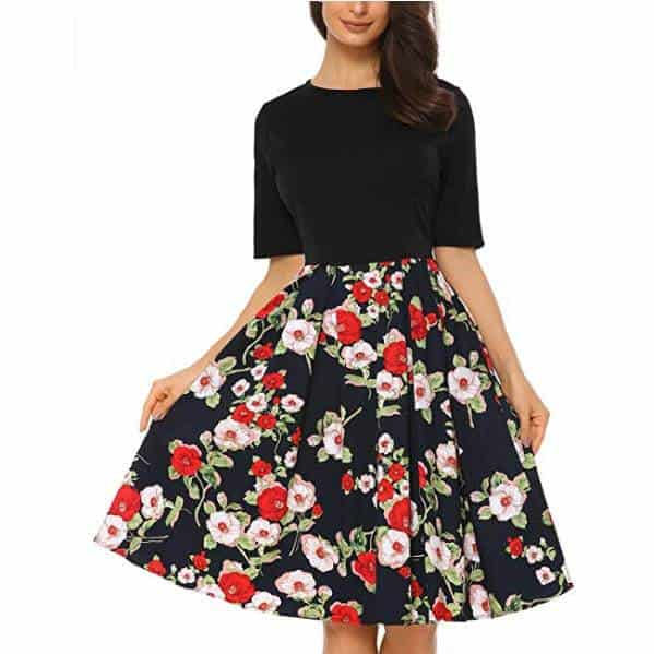 Mixfeer Women's Vintage Party Swing Dress with Pockets Only $11.49
