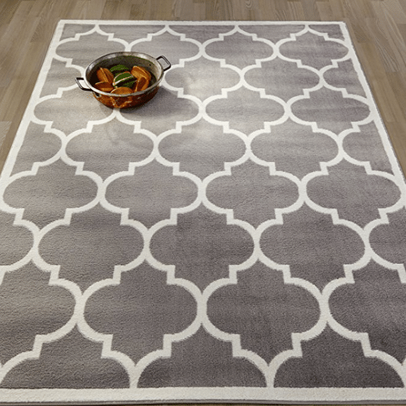 "Moroccan Trellis Design Lattice Area Rug, 5'3"" x7'0, Grey Only $29.34"