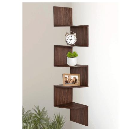 Greenco 5 Tier Wall Mount Corner Shelves Walnut Finish Only $17.99