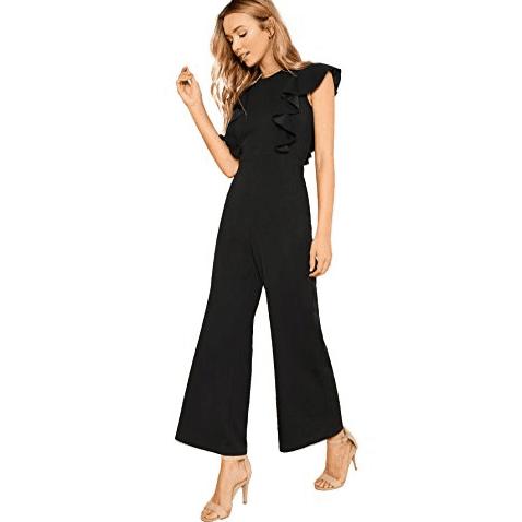 Romwe Women's Sexy Casual Sleeveless Ruffle Jumpsuit $17.99