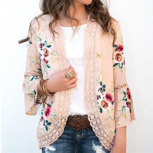 Super Cute Bell Sleeve Floral Kimono Only $15.99