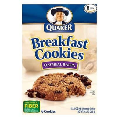 Quaker Breakfast Oatmeal Raisin Cookies 6-Pack (6 Cookies Per Box) Only $13.61