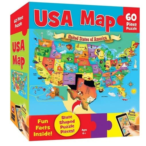 MasterPieces Explorer Kids 60 Piece USA Map Puzzle Only $4.00
