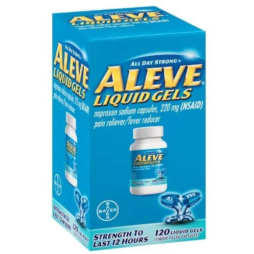 Aleve Liquid Gels, Naproxen Sodium Capsules 120 Count Now .74 (Was .03)