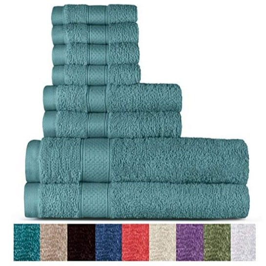 Welhome 100% Cotton 8 Piece Towel Set Only $18.99 **Today Only**