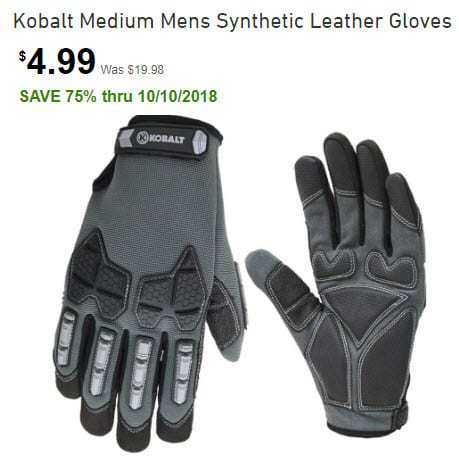 Lowe's: Kobalt Medium Mens Synthetic Leather Gloves ONLY $4.99 (Was $20)