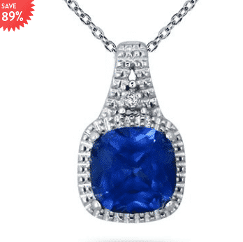 7mm Created Sapphire and Diamond Pendant in Sterling Silver for $22.69 (Was $199)