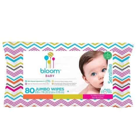 bloom BABY Sensitive Skin Unscented Hypoallergenic Baby Wipes, 80-Count Only $2.60