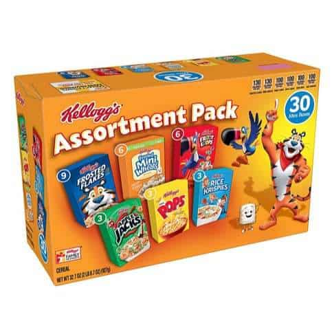 Kellogg's Breakfast Cereal Assortment Variety Pack 30 Count Only $6.29