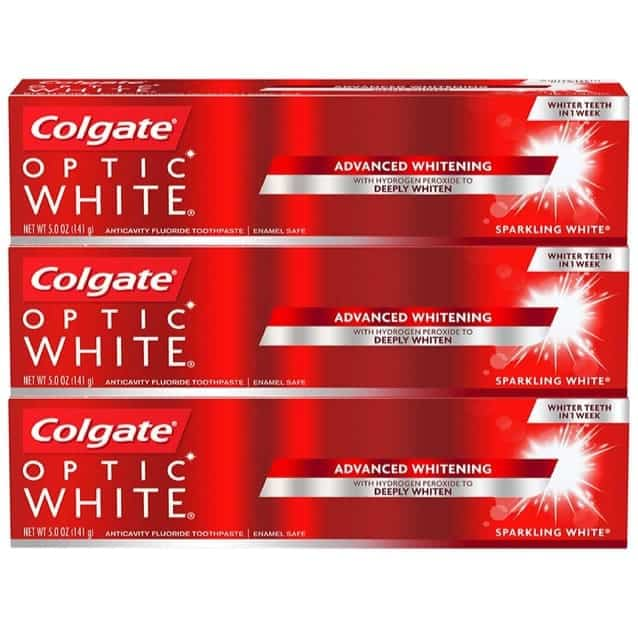 Colgate Optic White Whitening Toothpaste 3-Count Only $7.47