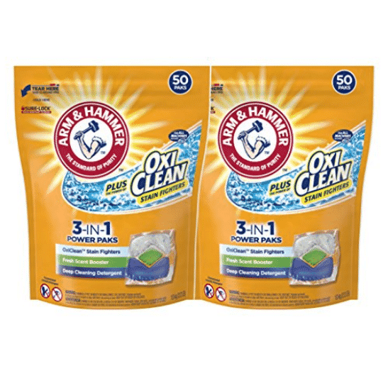 2 Pack of Arm & Hammer Plus OxiClean 3-in-1 HE Laundry Power Paks, 100 loads Only $7.60