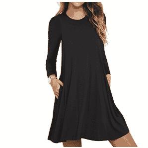 Unbranded* Women's Long Sleeve Pocket T-Shirt Dress Only $12.99