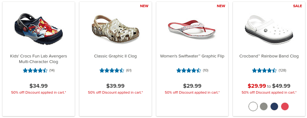 50% off Select Shoes at Crocs.com - Prices Start at $14.99