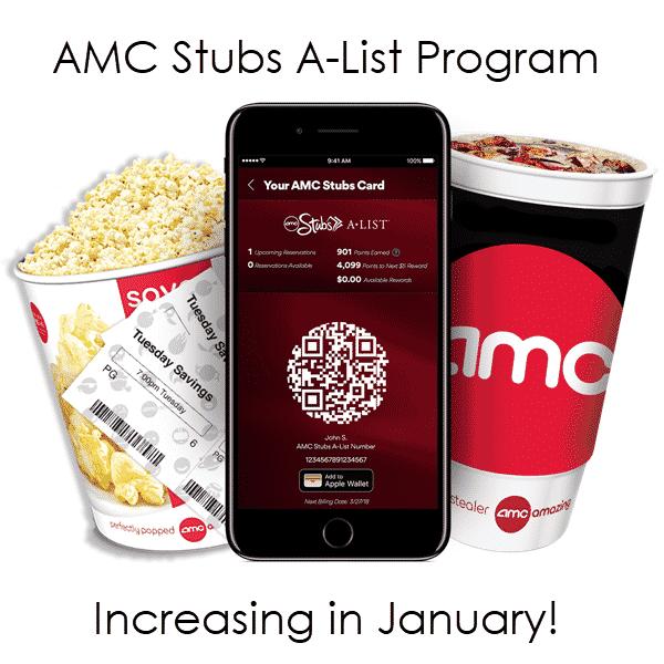 AMC Cinemas' Stubs A-List Program Increasing Prices in January