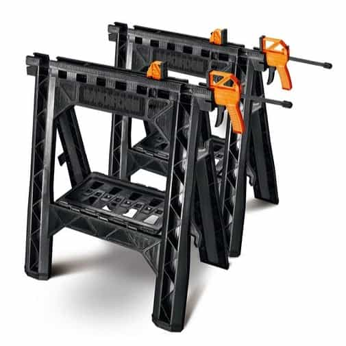 WORX Clamping Sawhorse Pair with Bar Clamps, Built-in Shelf and Cord Hooks Only $39.99 (Was $112.50)