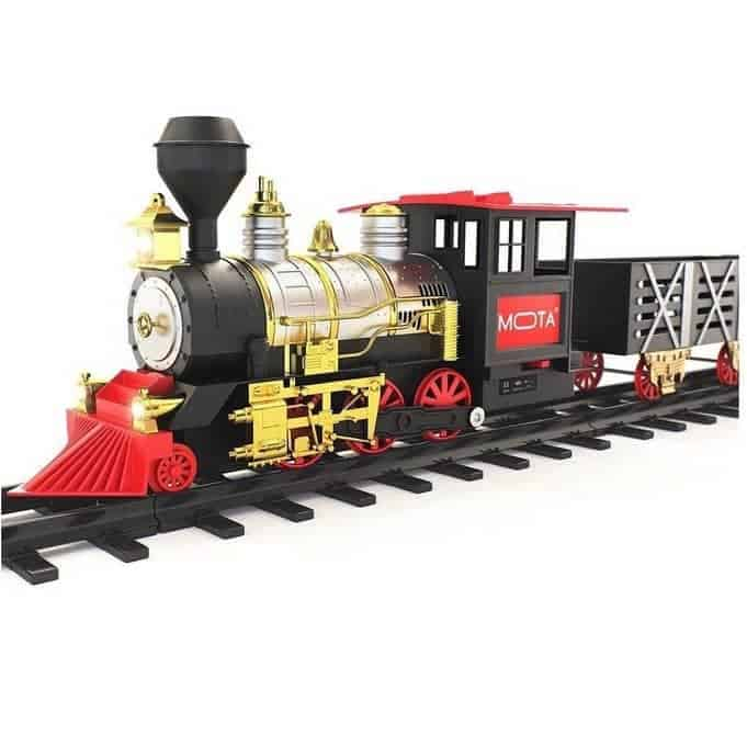 MOTA Classic Holiday Christmas Train Set with Real Smoke, Authentic Lights, and Sounds Only $26.74 (Was $69.99)