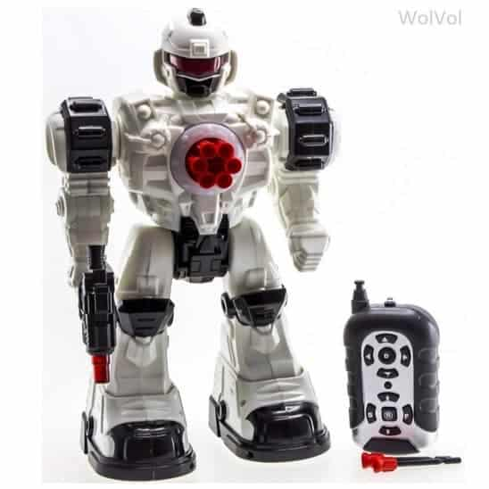 WolVol Remote Control Robot Police Toy with Flashing Lights and Sounds $35