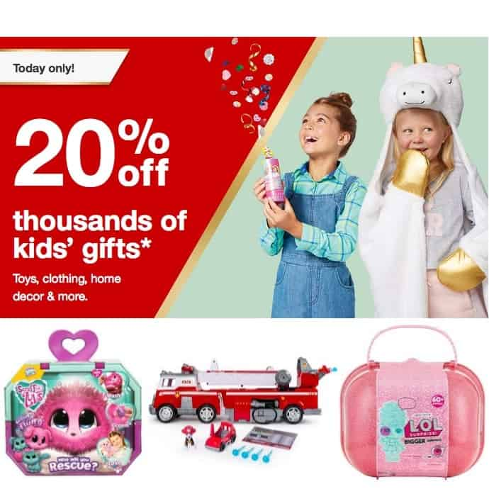 Target: 20% Off Thousands of Gifts for Kids ~ Toys, Clothing, Decor, & MORE **Today Only**