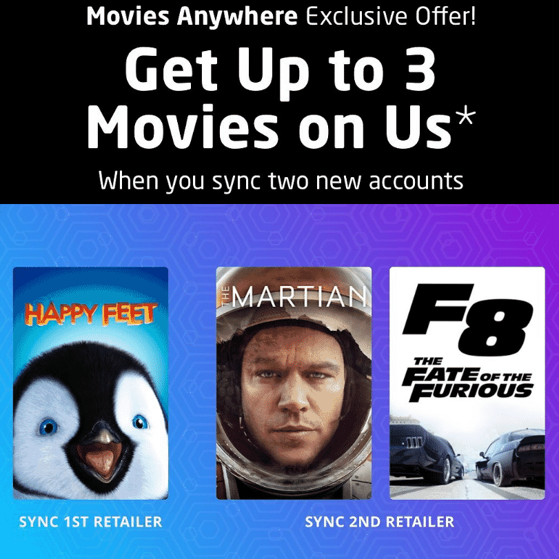 Movies Anywhere - Get 3 Free Movies -- F8, The Martian, and Happy Feet