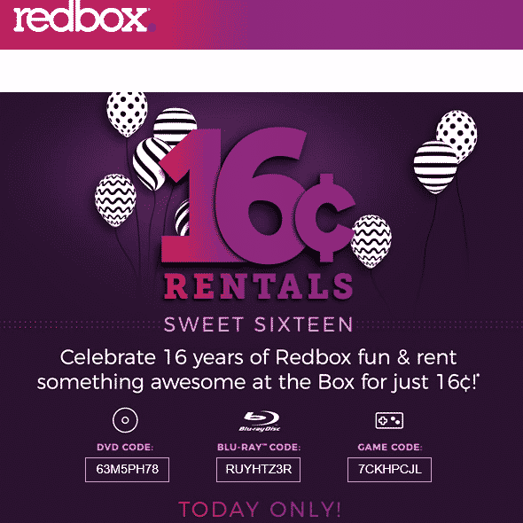16¢ Rentals at Redbox - TODAY ONLY!!