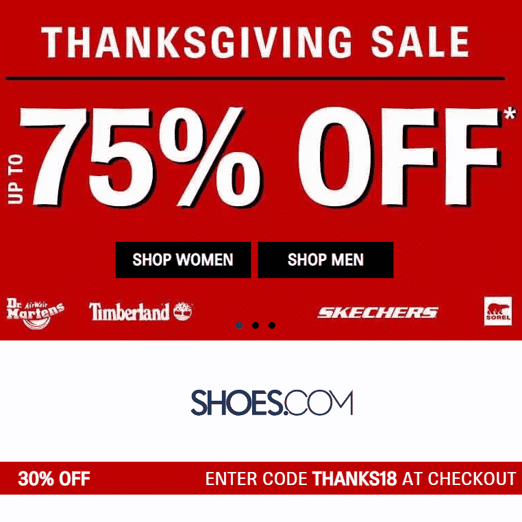 Shoes.com Thanksgiving Sale - Up to 75% off  + Extra 30% Off Code + Free Shipping