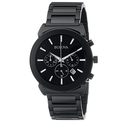 Bulova Men's Japanese Quartz Black Watch Under $80