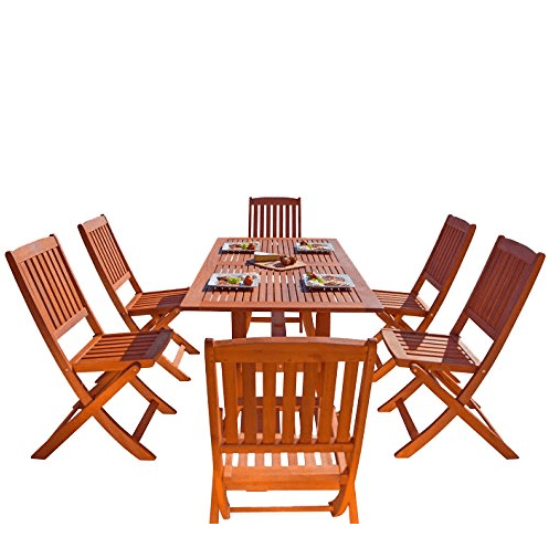 Wood Outdoor Dining Set with Foldable Chairs