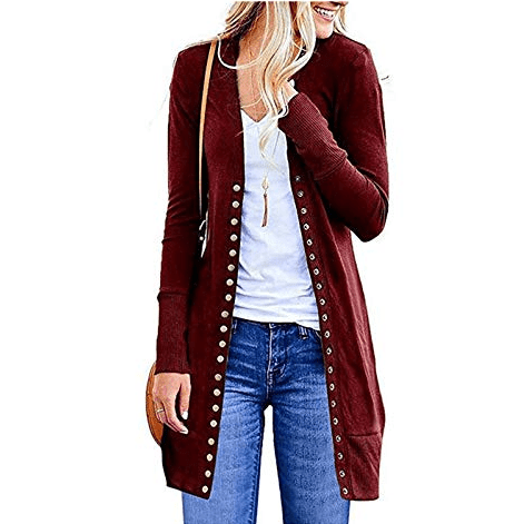 Long Sleeve Snap Button Down Casual Knit Cardigan Sweater Only $14.99