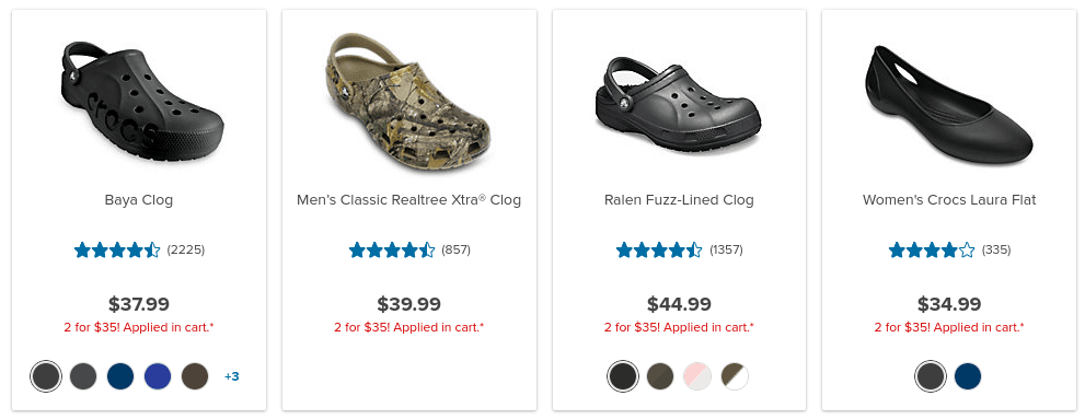 2 Pairs of Crocs ONLY $35 w/ Free Shipping