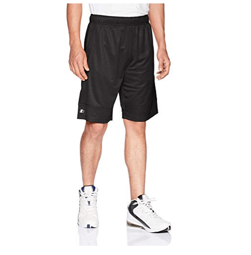 """Starter Men's 10"""" Dazzle Basketball Short with Pockets, Black, Extra-Large Only $14.99"""