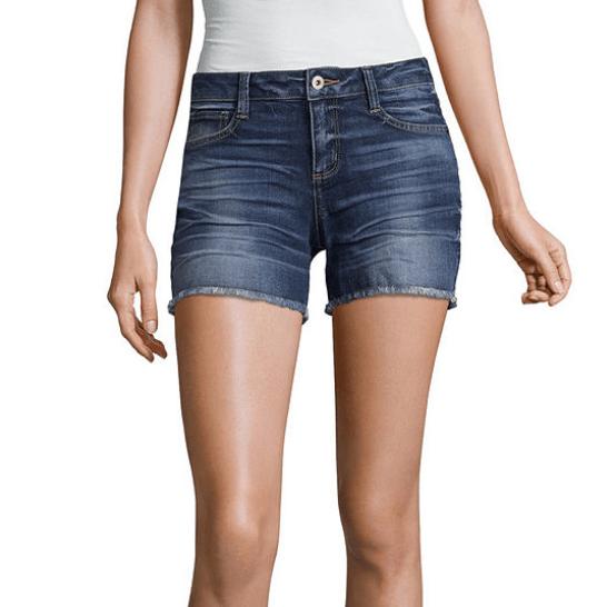 "JCPenney: Arizona 4 1/2"" Raw Edge Midi Shorts-Juniors ONLY $4.79 (Was $34)"