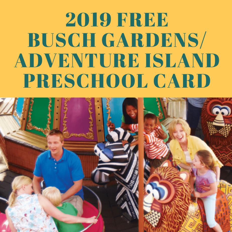 2019 FREE Busch Gardens/ Adventure Island Preschool Card