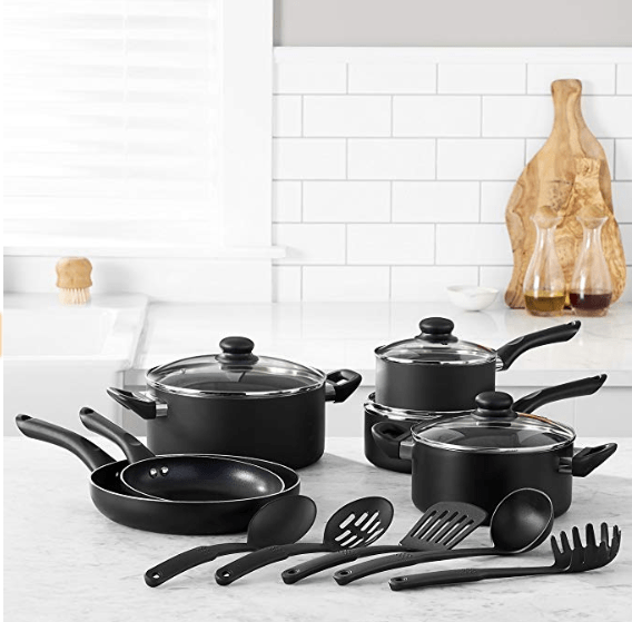 AmazonBasics 15-Piece Non-Stick Cookware Set $49.57