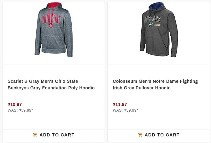 Dick's Sporting Goods: Up to 80% Off NCAA Hoodies - Prices from